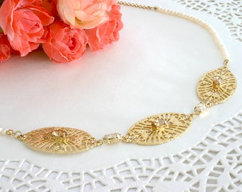 Gold bib necklace, Gold necklace, Bib necklace, Gold statement necklace, Statement necklace, Crystal statement necklace, Crystal necklace