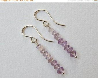 Light Amethyst Earrings - Beaded Earrings in Sterling Silver Stick Earrings Beadwork Earrings Dangle Earrings