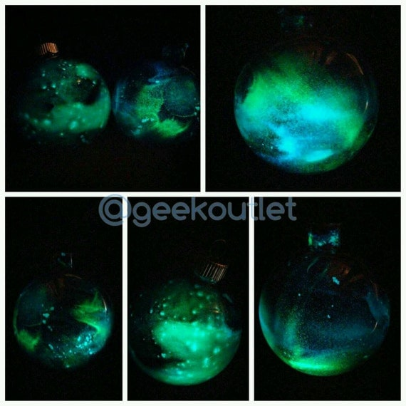 Glow In The Dark Glass Galaxy Christmas Tree Ornament Holiday Decoration
