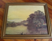 Vintage Fly Fishing Lithograph Print Dusk Sonning Walter Williams