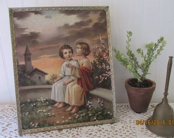 Boy Jesus framed religious art print. Young Jesus, church, garden. Rare vintage art print. Stunning sky, clouds, blossoms. Shabby cottage.