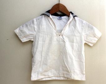 Vintage Sailor Shirt. Children's Nautical Shirt. SZ 4. White and Blue Boat Shirt. 1950s Navy, Admiral, Coastal, Beach Attire, Navy and White