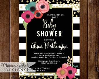 Baby Shower Invitation, Watercolor Floral Black & White Stripe Shower Invite, Gold Glitter Confetti Baby Shower, Glitter Invitation