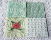 Greens White Rosebud & Pink Rosette Quilt Squares Vintage Chenille Bedspread Fabrics (16)