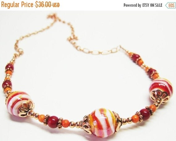 CIJ SALE Red Marble Lampwork Necklace - Red Orange Necklace - Red Jewelry - Gemstone Necklace - Copper Jewelry - Womens Necklace - Colorful