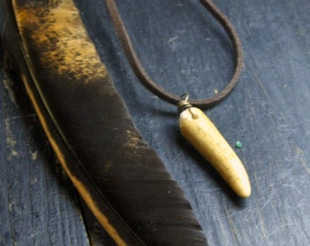 THE FAUN. Genuine deer Antler tip and rustic suede necklace. Gift for him. Unisex necklace