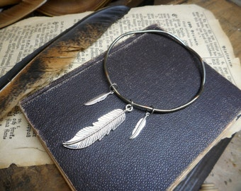 The Three Feathers Wavy Bangle Bracelet. Bohemian silver feather bracelet . Upcycled