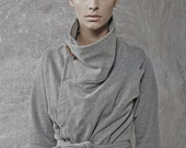Winter Sale 15% Off!!! Grey warm wrap cozy sweater with camel pin and belt