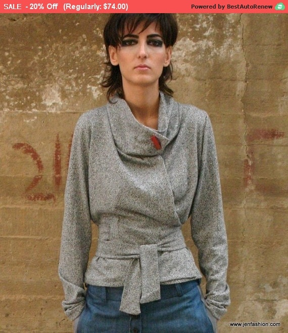 RED label in light grey wrap sweater elegant and cozy, grey wrap cardigan, sweater, designer winter top