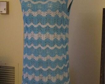 Blue summer cotton blend top-tunic no. 274