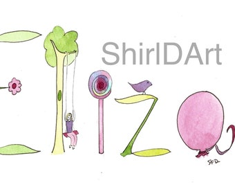 Custom Name Watercolor Painting, Illustration, Personalized Name Art, Baby Gift, Bird, Flower, Butterfly, Ladybug, Woods, Eliza, Piper