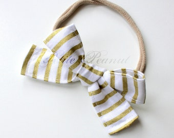 Petite Peanut Bitty Bow Headband - Gold Stripe - Baby Girl Toddler - (Made to Order) -Spring Summer