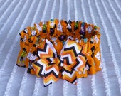 "Halloween Magic Parade Dog Collar Scrunchie - chevron bow - Size M: 14"" to 16"" neck"