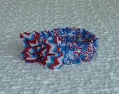"Patriotic Star Collage Dog Scrunchie Collar - chiffon chevron bow - S: 12"" to 14"" neck"