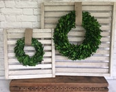 Boxwood Wreath on Distressed Wood Slats Made From Tobacco Sticks