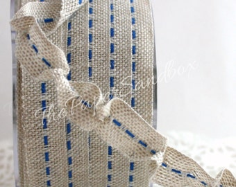 "Burlap Ribbon Blue Center Stitch by the yard 5/8"" wide Party Supplies, Gift Wrapping, Nautical Ribbon, Home Decor,Scrapbook, Sewing, Crafts"