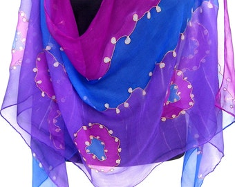 Silk Scarf Handpainted, Hand Painted Silk Scarf, Purple Blue Magenta, Abstract Swirls, Chiffon Silk Scarf, Gift For Her