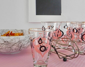 Libbey Pink and Black Atomic Tumblers in the Seville Pattern. Set of 8 Drinking Glasses with Wire Rack.