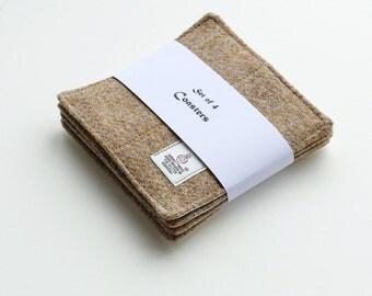 Oatmeal HARRIS TWEED coasters, quilted and padded, handwoven in Scotland