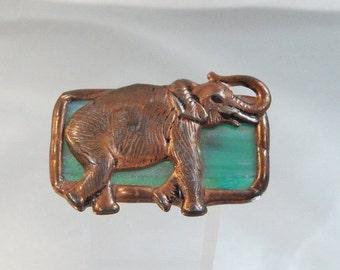 FALL SALE Vintage Elephant Brooch. Copper. Poured Glass. Political. Republican.