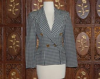 MOSCHINO Cheap and Chic Black and White Checkered Wood Blazer Sz 6
