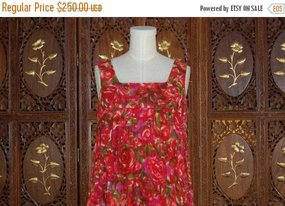 ON SALE Vintage 1960s JONATHON Logan Pleated Red Floral Baby Doll Dress