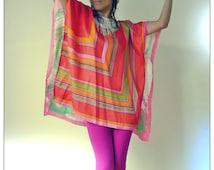 Upcycled Vintage Scarf T-Shirt Mini Dress Pink Green & Orange Geometric/Paint Splash Print Tunic            ReMade in England UK
