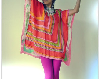 Upcycled Vintage Scarf T-Shirt Mini Dress Pink Green & Orange Geometric/Paint Splash Print Tunic            ReMade in England UK