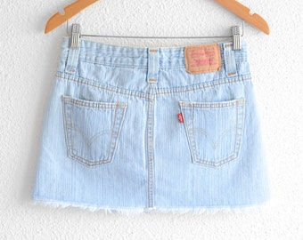 Levis High Waisted Skirt Vintage Levi High Waist Denim Mini Skirt 90s Clothing 90s Grunge denim Skirt Jean Skirt High Waisted Mini Skirt XS