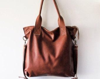 ON SALE Brown leather tote - Handbag - Cross-body bag - Every day bag - Women bag - Shoulder leather bag