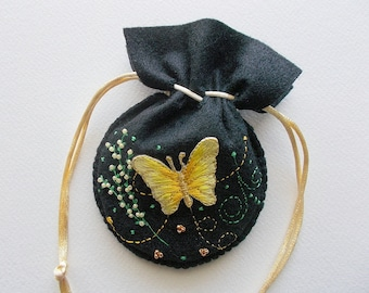Jewelry Pouch Black Felt Gift Bag with Yellow Golden Butterfly Bead Embroidery and Swirls Handsewn