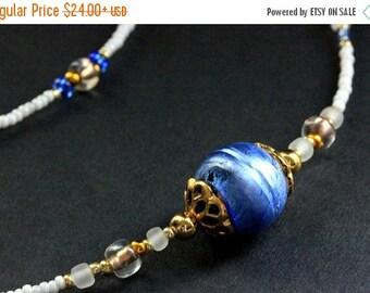 HALLOWEEN SALE Badge Lanyard. Cobalt Blue Glasses Necklace. Royal Blue Eyeglass Holder. Beaded Eyeglass Chain. Losing My Marbles Handmade La
