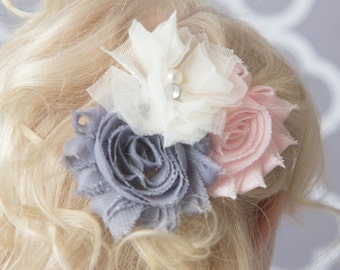 Grey hair clip, light pink hair clip, ivory hair clip, flower girl hair clip, bridal hair accessory, girl birthday gift for her, baby hair