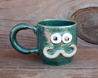 Little Mister Hot Chocolate Mug. Funny Tea Cup. Frosty Green. Handlebar Mustache Guys Cup. Funky Little Teacup.
