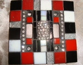 MOSAIC LIGHT SWITCH Plate Cover - Double,  Wall Art, Red, White, Black, Silver, Rhinestones