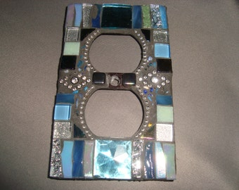 MOSAIC Electrical Outlet Cover,  Plug, Wall Plate, Blue, Sparkle