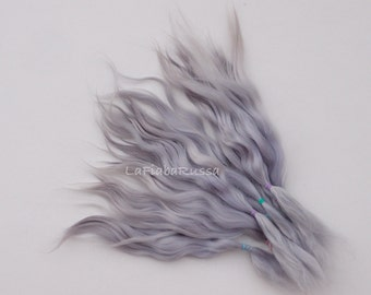 Doll Hair Combed Mohair 8 in silver gray / lavender tone adult mohair angora goat/ reroot/  Reborn/ momoco/ doll wig/ blythe wig/ pullip/