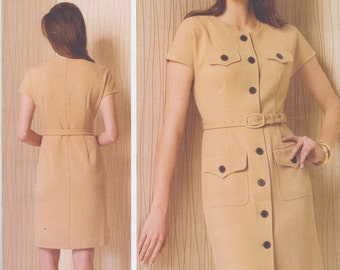 Vogue American Designer Anne Klein Pattern V1500 Easy Fitted Dress with Button Front, Pockets, Cap Sleeves and Belt  Misses' Sizes 6 - 14