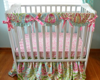 Mini Crib Kumari Garden Bedding Set- Skirt, Sheet, Rail Cover