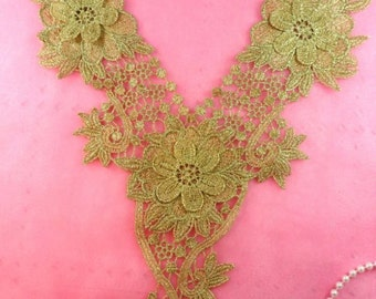 "3D Applique Gold Bodice Yoke Embroidered Metallic Motif 15.5"" (GB396-gl)"