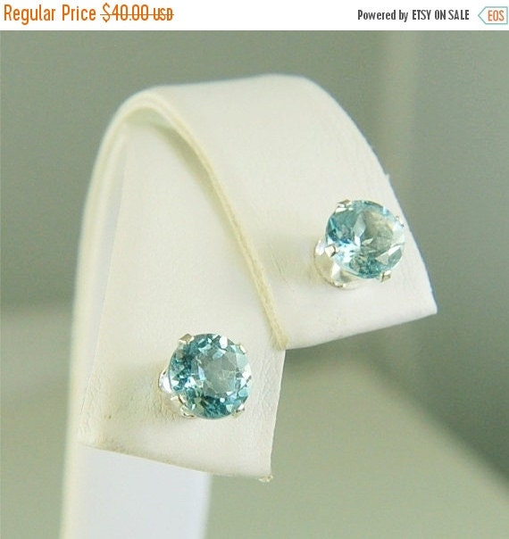 Valentines Day Sale Sky Blue Topaz Studs Sterling Silver Earrings 6mm Round 2ctw