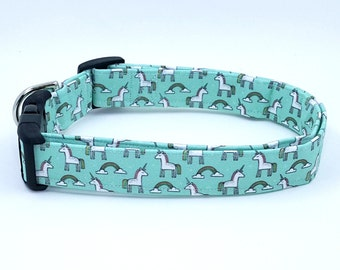 Unicorns and Rainbows on Mint Blue and Green Dog Collar