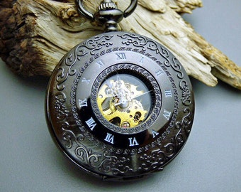Black Mechanical Pocket Watch with Watch Chain, Steampunk, Groomsmen Gift, Gift Boxed, Engravable - Item MPW149