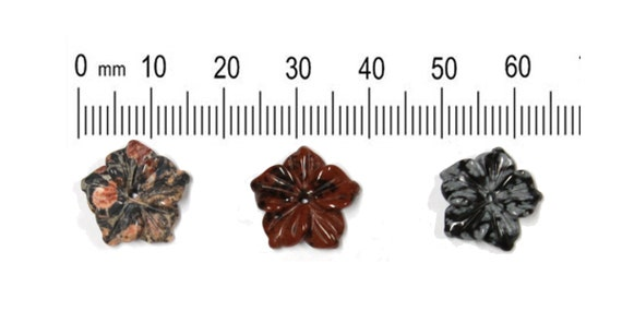 3 pcs - 15mm Stone Flower Beads - one of each - Rhodonite, Mahogany and Snowflake Obsidian