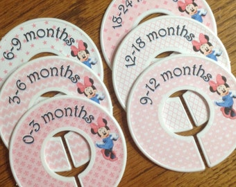 Baby Closet Dividers - Minnie Mouse in Pink, Chevron, Stars, Hearts and Fluer de Lis; Closet Organizers Baby Gift