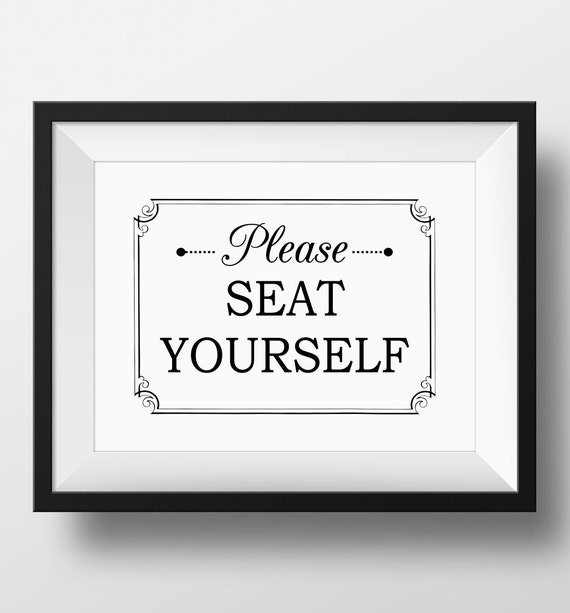 Bathroom Art Please Seat Yourself Wall Art By OrchardBerry