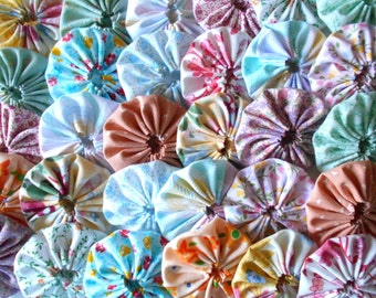 30 Pastel 2 Inch Yo Yo Fabric Applique Quilting Block Barrette Hair Clip Trim Supplies 1