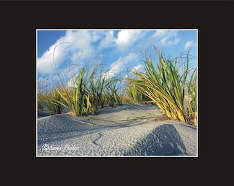 Wrightsville Beach seagrass Photographic Print matted in black sand coastal North Carolina