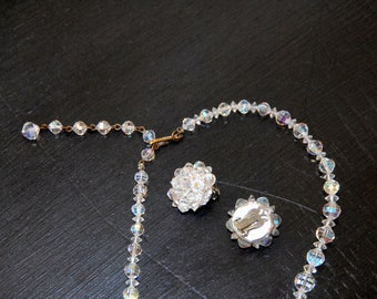 Vintage Laguna Crystal Necklace and Laguna Cluster Earrings, Laguna Set