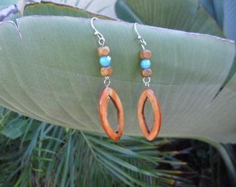 Handmade Boho Chic Wooden Dangle Earrings- Ready to ship